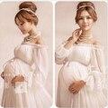 Новый белый кружева по беременности и родам фотографии реквизит долгосрочной кружевном платье беременных женщин элегантный необычные фотосессии студия одежды