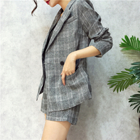 2017 Autumn and Spring Plaid women blazer suit Casual Loose style Suits Long jacket and Short pant 2 piece sets