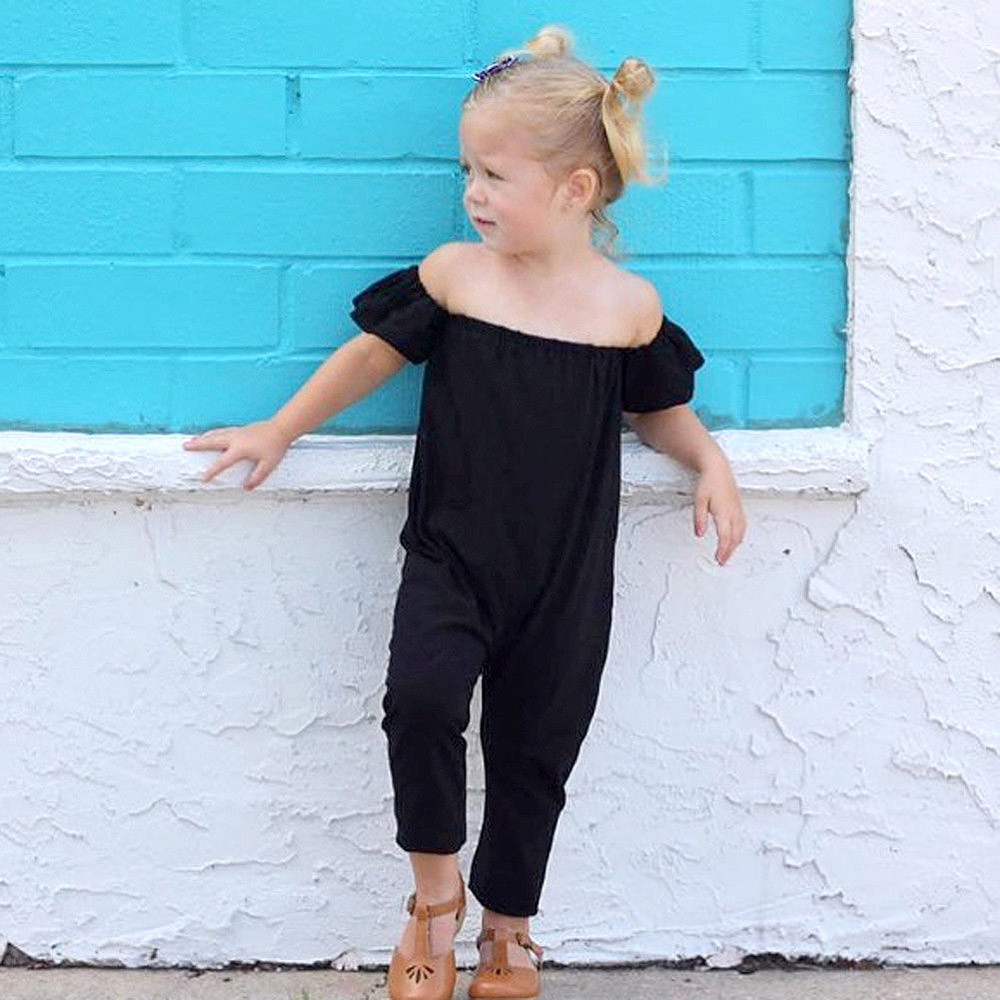 Newborn Baby Girls Solid Off Shoulder Solid Rompe Playsuit black color Clothes Outfits newborn girl clothing tiny cottons