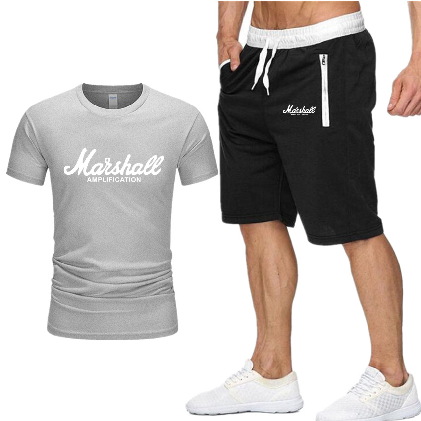 Marshall Print Tracksuit T Shirt+Shorts fashion Trends In 2019 Fitness Cotton Brand tshirts for Men Bodybuilding clothing M-XXL(China)