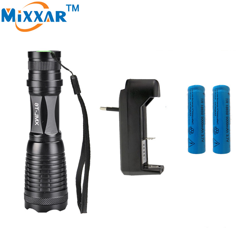 RUzk25 CREE  xm-lt6 8000LM LED flashlight Zoomable Adjustable LED Flashlight Torch + 2*18650 5000mAh Battery + Charger cree xm l t6 bicycle light 6000lumens bike light 7modes torch zoomable led flashlight 18650 battery charger bicycle clip