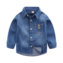 The boy denim shirt Autumn outfit new han edition 2016 children's wear children's casual shirts Baby long sleeve blouse