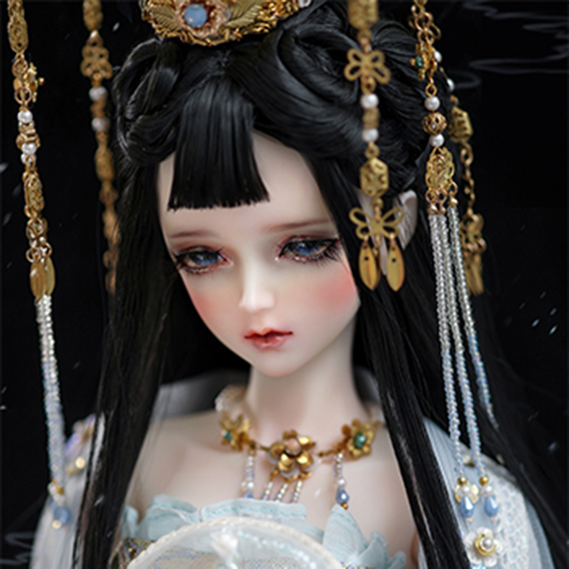 Bybrana Chinese Style 1/3 Black Hair BJD Wigs For Dolls