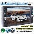 6.6 polegada HD 2 Din MP5 MP4 Player Do Carro da tela de Toque Rádio FM estéreo Bluetooth câmera traseira apoio 2 porta USB FM