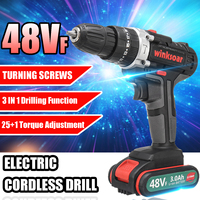 2 speed 48V Cordless Electric Screwdriver Impact Drill 25+1 Torque Rechargeable Battery Electric Drill LED Working Power Tools
