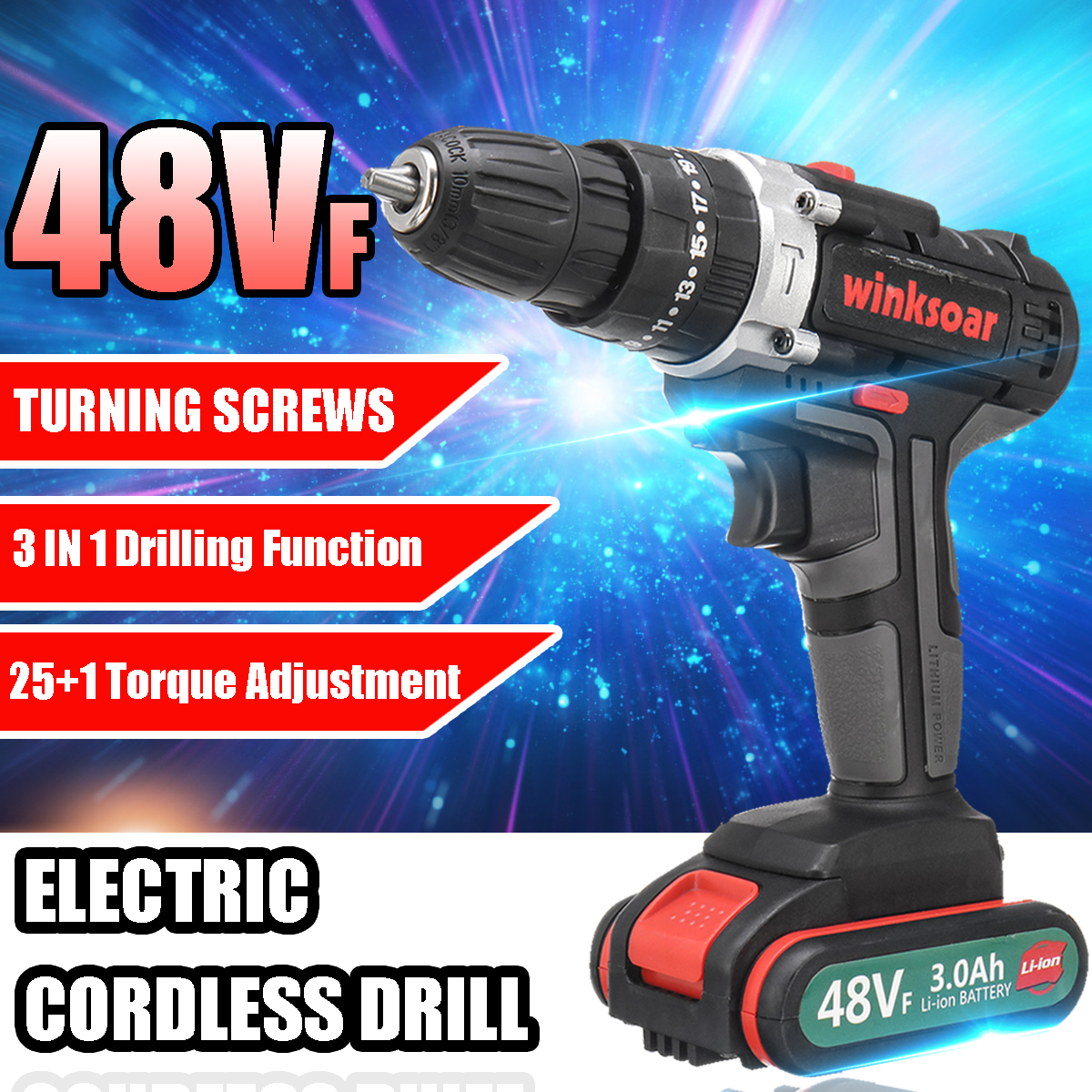 2-speed 48VF Cordless Electric Screwdriver Impact Drill 25+1 Torque Rechargeable Battery Electric Drill Parafusadeira A Bateria