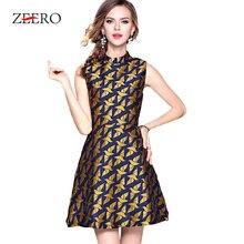 99db1ba5c0 Huan-Qing 2018 Autumn Runway Luxury Sleeveless Stand Tank Dress A-Line Mini  Dress