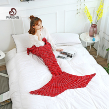 Parkshin Wholesale Red Mermaid Tail Knitted Blanket Soft Crochet Handmade Sleeping Bag for Kids Adult All Season Best Gift