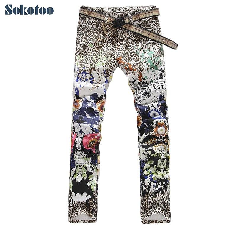 Men S Leopard Print Colored Drawing Flower Male Slim Jeans