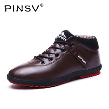 PINSV Winter Shoes Men Boots Warm Fur Mens Shoes Casual Red Bottom Leather Shoes Men Fltas Chaussure Homme 2017(China)