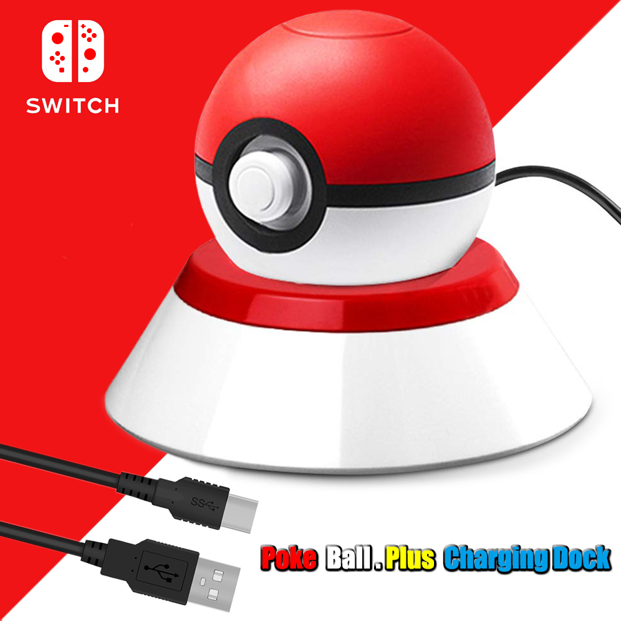 Nintend Switch NS Pokeball Eevee Controller Charging Dock Station, Poke Ball Plus Charger Stand Holder for Nintendo Switch Game