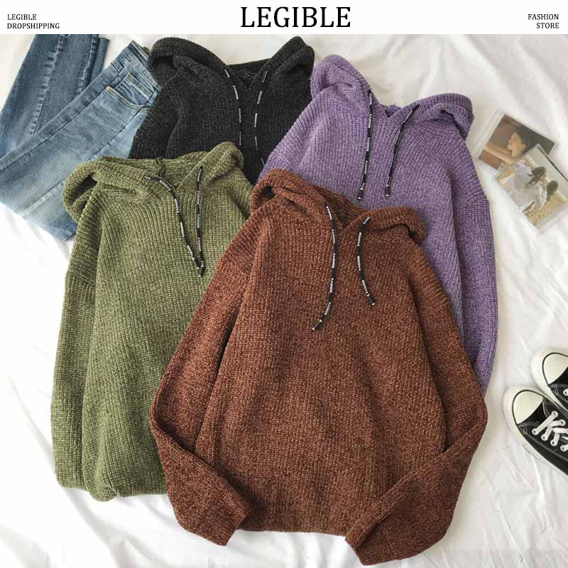 LEGIBLE 2019 New Autumn Hip Hop Sweater Men Casual Loose Solid Mens Sweaters Hooded Knitting Pullovers Coat Men 3XL