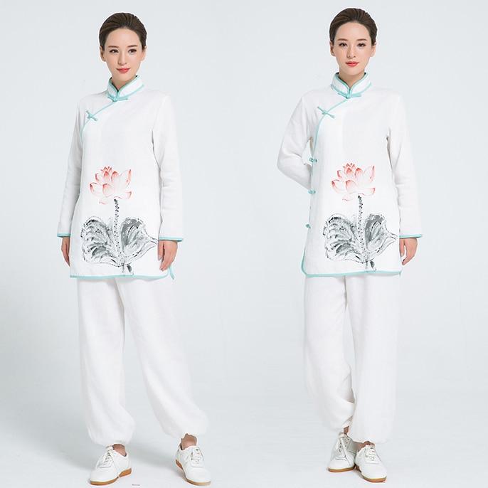 2018 New Pattern Flax Martial Art Kung Fu Clothing Hand Painted Tai Chi Uniform