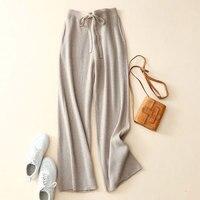 100 Pure Cashmere Wide Leg Pants Fashion Women Winter Pants Solid Color Super Warm Joggers Women