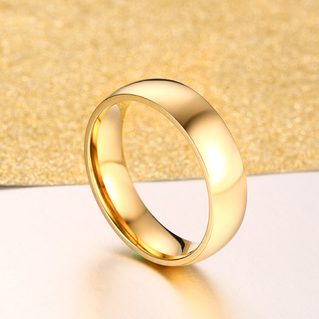 Classic Gold Color Wedding Band Engagement Ring 6mm Wide for Women Men US Sizes