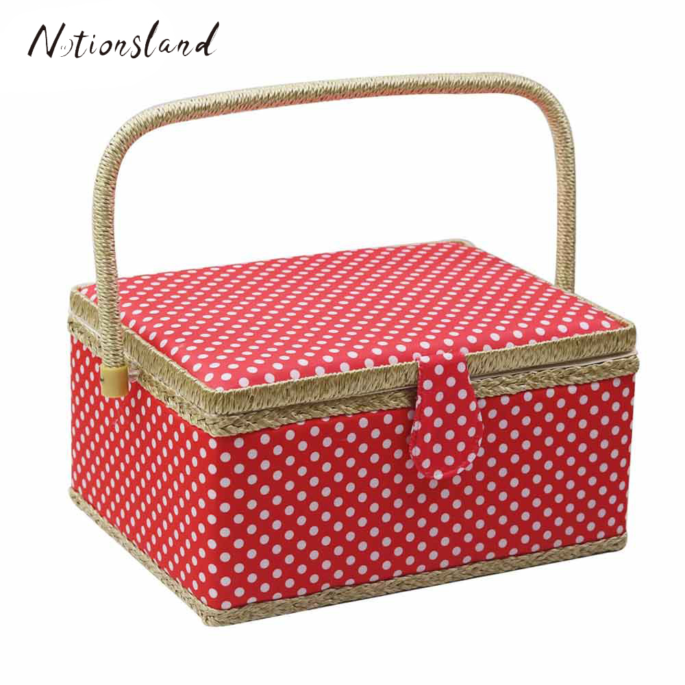 Sewing Basket Kit Storage Box Organizer with Sewing Accessories DIY Fabric Crafts Multi function Tool Box