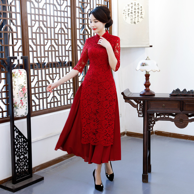 Hot Sale Female Lace Chinese Classic Dress Black Elegant Vietnam Aodai  Oversize Mandarin Collar Long Qipao Slim Cheongsam S-3XL dd5304b5279f