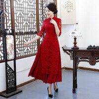 Hot Sale Female Red Lace Chinese Classic Dress Elegant Vietnam Aodai Oversize Mandarin Collar Long Qipao Slim Cheongsam S 3XL