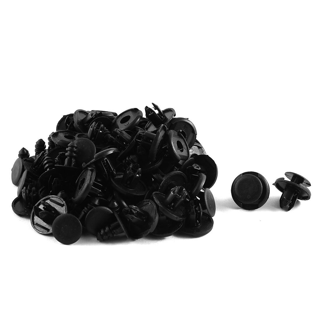 AUTO -50 x Black Plastic Carpet Clips for Alignment Bow Wheels 8mm x 19mm x 10mm
