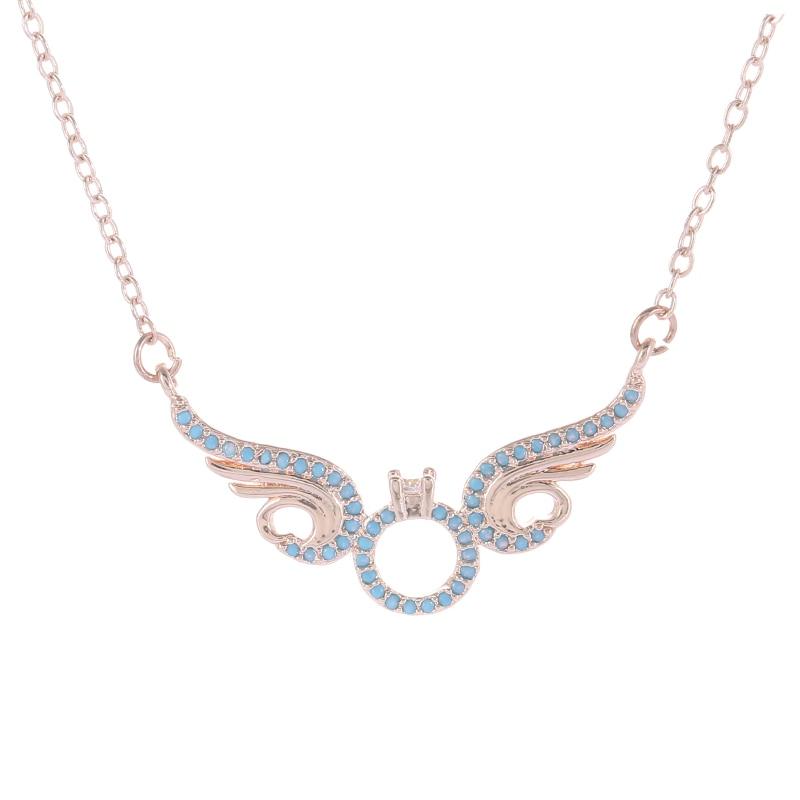 Best Friends Rose Gold Color Blue CZ Angel Wing Statement Necklace