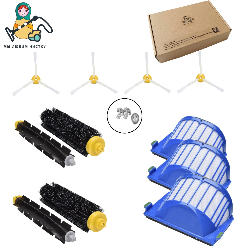 CLEAN DOLL Spare parts for iRobot Roomba 595 620 630 645 650 655 660 680 690 side brush filter main brush Vacuum Cleaner parts 3pcs corner cleaning robots replacement brush 3pcs cleaner filter one rolling brush set for roomba 620 630 650 660
