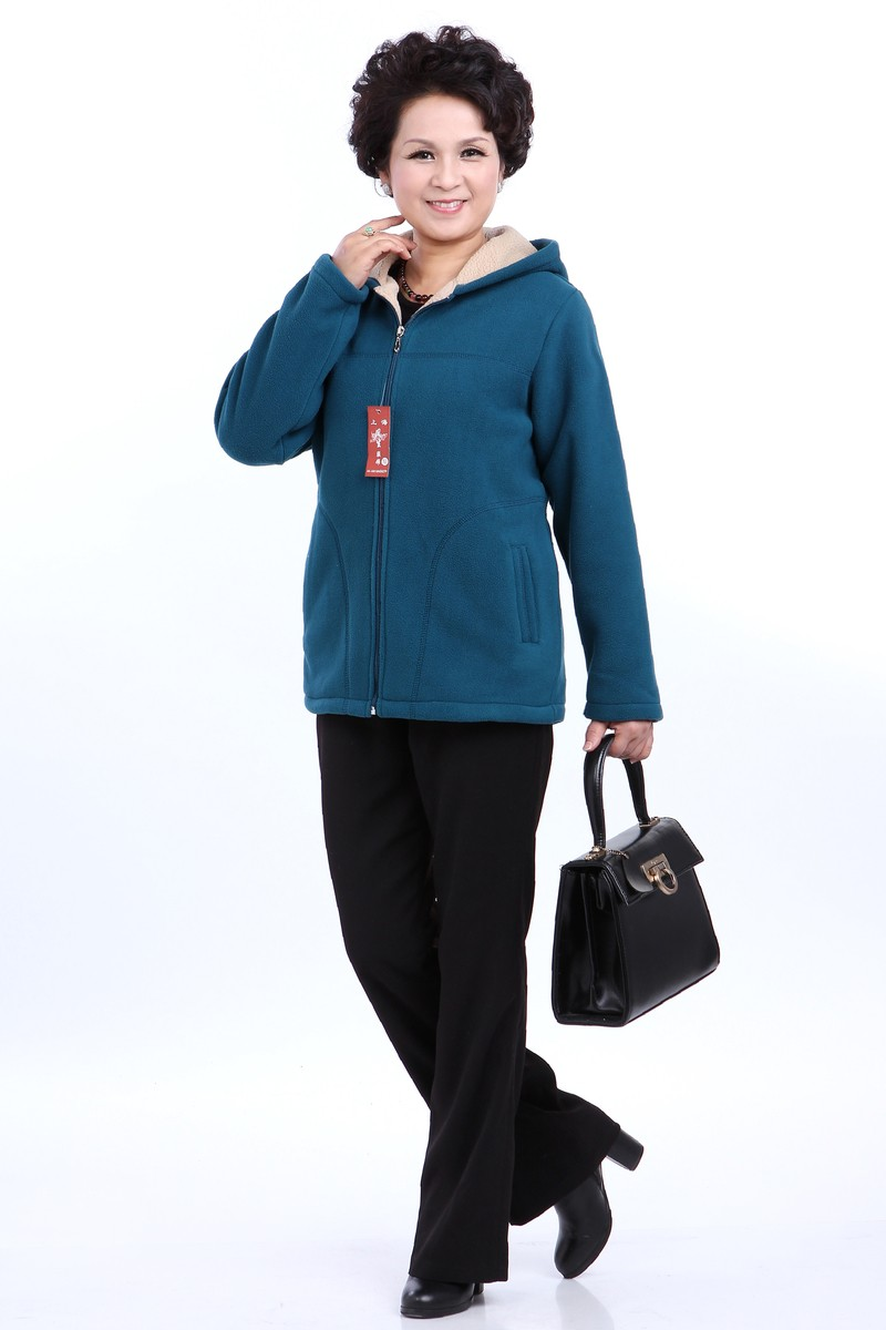 Winter Middle Aged Womens Hooded Imitation Lambs Fleece Jackets Ladies Warm Soft Velevt Coats Mother Overcoats Plus Size (3)