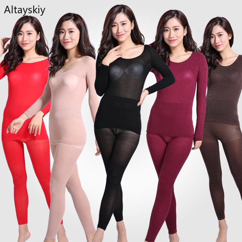 Thermal Underwear Women High Elasticity Constant Temperature O-Neck Ultra-Thin Womens Mid-Rise Colorful Ladies Elegant Trendy