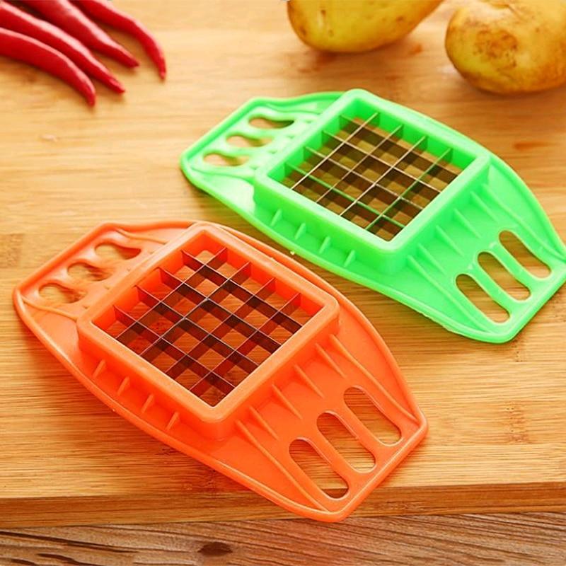 Stainless Steel Potato Slicer Cutter French Fries Slicers Vegetables Slicer Chopper Kitchen Tools Gadgets Random Color