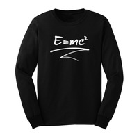 Mens E=mc Gravitation Science Long Sleeve T Shirts Casual Men Tee
