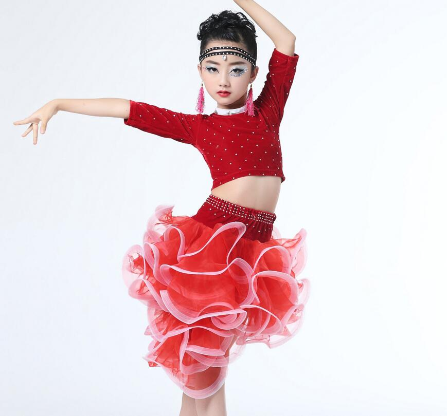 New Design 5 Color Childrens Professional Latin Dance Cha Cha/Rumba/Samba/Tango/Ballroom Dance Skirt Vestido De Baile Latino