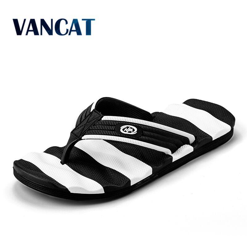Los hombres ocasionales del verano Flip Flops Sandalias planas Zapatos para hombres rayas Flip Flops playa Sandalias Zapatos Hombre Zapatos fuera grande Size39-48