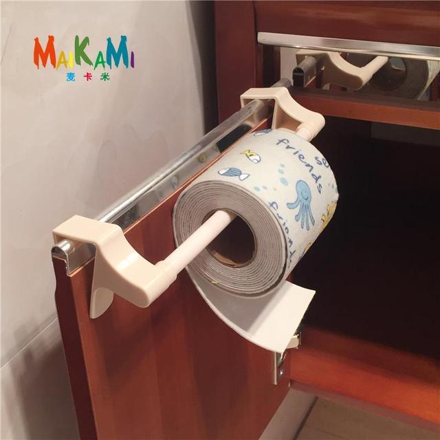 MAIKAMI ABS Kitchen Tissue Holder Hanging Bathroom Toilet Roll Paper Holder Towel Rack Kitchen Cabinet Door Hook Holder