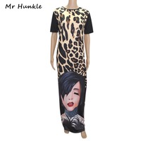Renaissance Women's Dresses Promotion 2017 New Leopard Dress Bottom Head Face Printing Digital Positioning Women Clothes Sexy