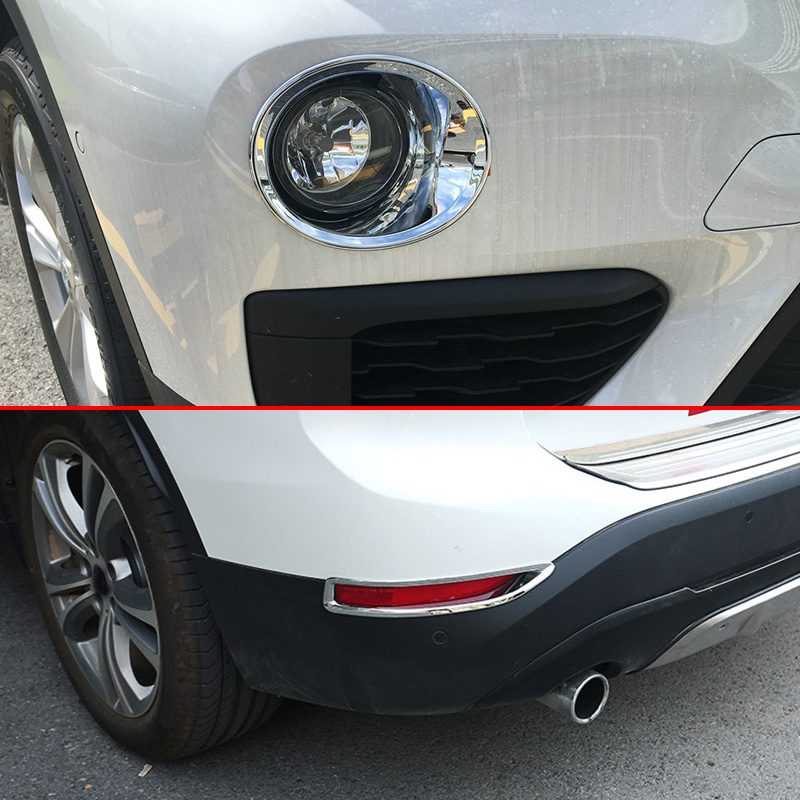 4pcs Chrome Front Rear Reflector Fog Light Lamp Cover Trim For BMW X1 F48 2016 2017