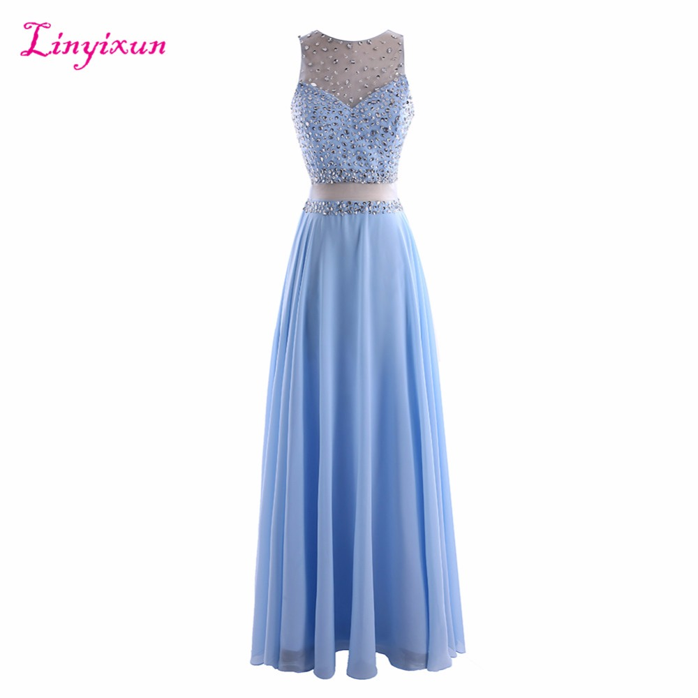 Linyixun Real Photo Sleeveless Scoop Two Piece   Prom     Dresses   2017 With Crystal Beads Chiffon Evening Gown A ine Long   Prom   Gown