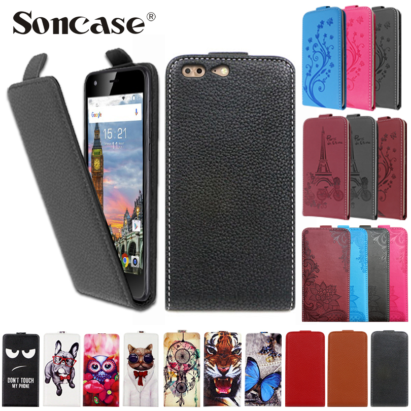 Fashion Cartoon Pattern Flip Leather Case For Leagoo T5 Embossed flip Back case phone cover For Leagoo T 5