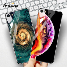 Tempered Glass Case For iPhone 7 8 Plus 11 Pro Max Cases Stars Space Silicone Covers for 6S 6 XS X XR Bumper