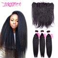 "Li&Queen Kinky Straight Hair With Closure Peruvian Virgin Hair 13x4 Ear to Ear Lace Frontal Closure 6-30"" Human Hair Extensions"