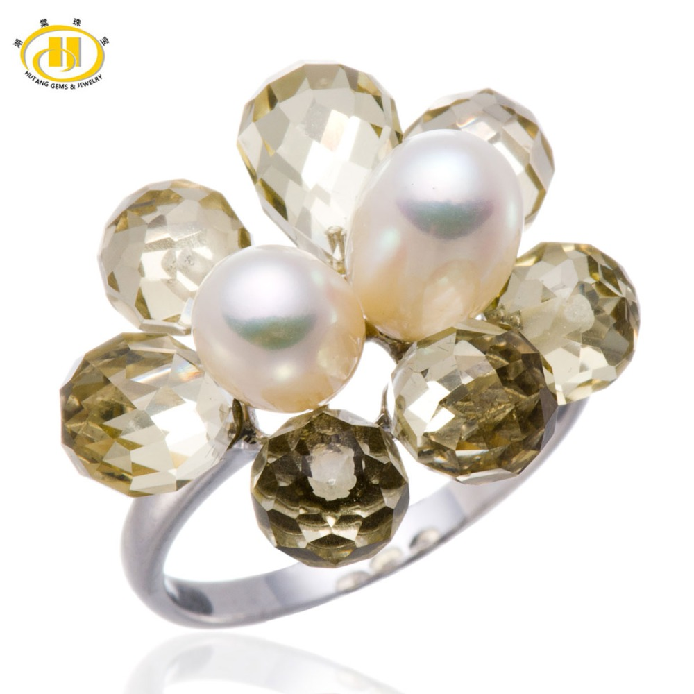 Hutang Freshwater Pearl & Quartz Flower Ring In Solid Sterling 925 Silver for Women Fine Jewelry jyx 9 5mm pink genuine freshwater pearl ring shiny crystal in 925 sterling silver jewerly