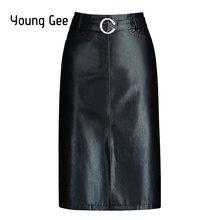 faafc06ce0 Young Gee Women PU Pencil Skirts Fashion Bodycon Office Lady Midi Saias  Female Faldas Mujer Black Work Wear Tube Split Skirt