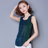 Summer Fashion Mesh Splice Sleeveless Vest For Women Shining Bling Silk Slim Tank Tops O Neck