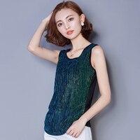 Summer Fashion Mesh Splice Sleeveless Vest For Women Shining Bling Silk Slim Tank Tops O Neck
