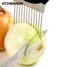 Easy Cut Onion Holder Slicer Vegetable tools Tomato Cutter Stainless Steel Kitchen Gadgets No More Stinky Hands U0502