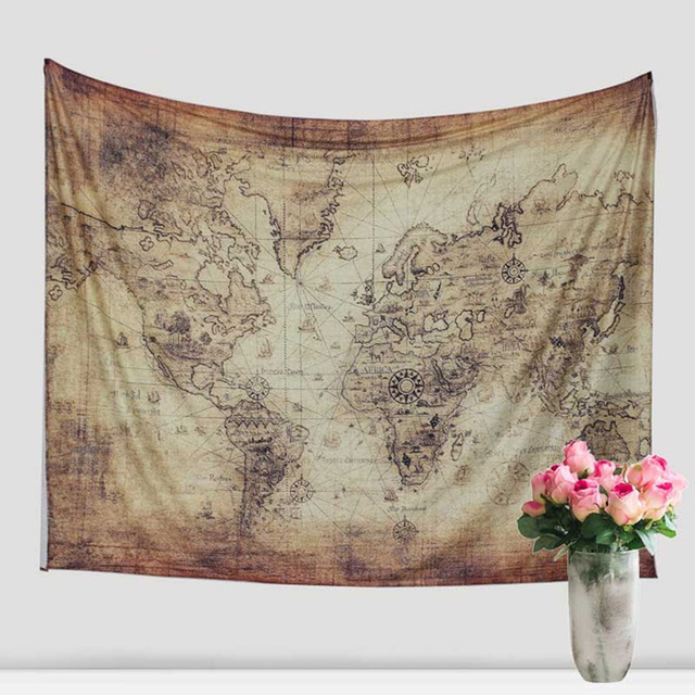 Indian Mandala Cotton Tapestry Hippie Wall Hanging World Map - Cloth world map wall hanging