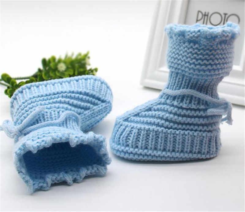 クリスマス幼児新生児編みレースかぎ針編みの靴バックルハンドクラフト赤ちゃん女の子男の子シューズchaussure infantil menina
