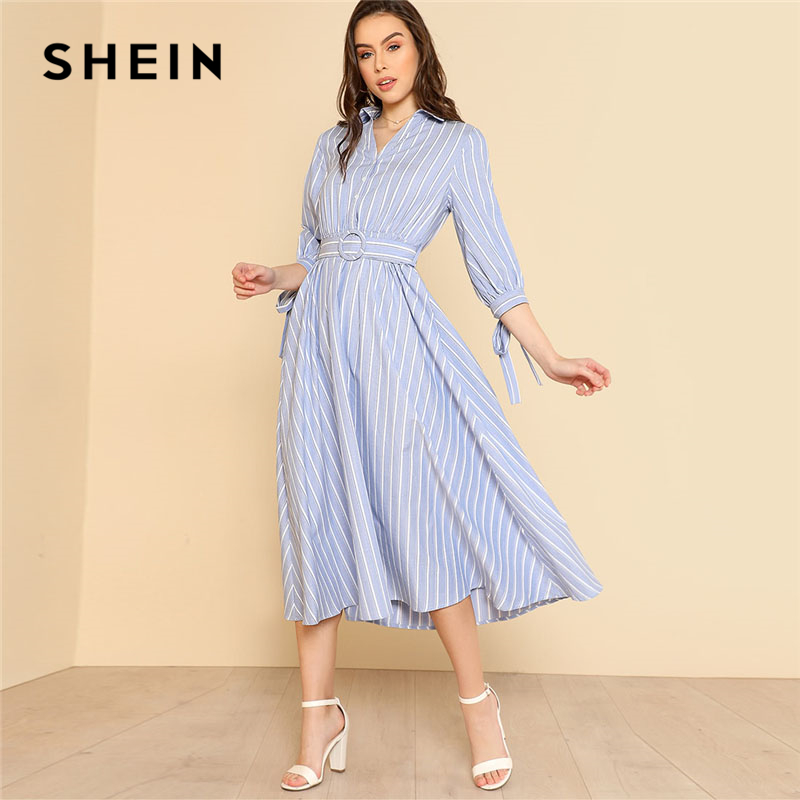 SHEIN Bow Tied Cuff Striped Shirt Dress Women 3/4 Sleeve High Waist Belted Elegant Dress 2018 Spring Fit And Flare Dress