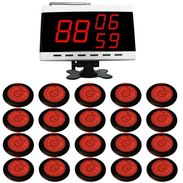Singcall sem fio chamando system, 20 pcs botões e 1 pc receptor de número de chamada, usando na loja de café, pub