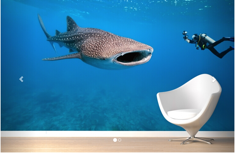 Mural Whale Shark Wallpaper Mural Sea world modern 3D 3D wallpaper living room mural 3D wallpaper tv sofa background aegean sea scenery sea tree beach 3d wallpaper tv background wallpaper the living room sofa backdrop mural