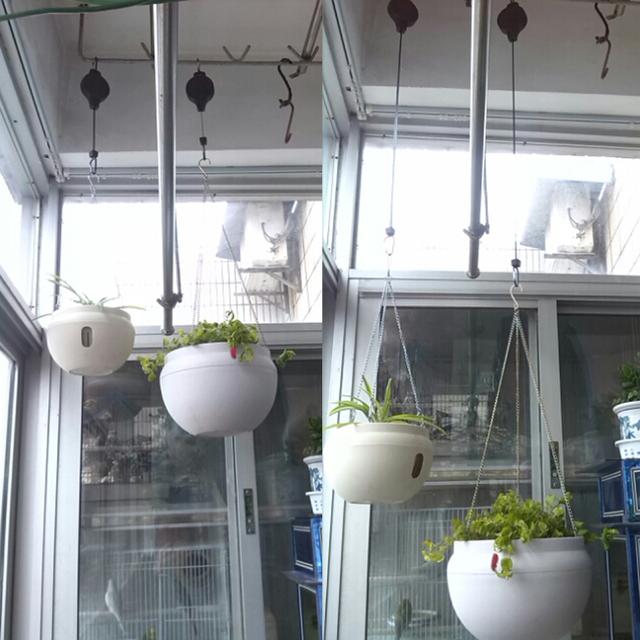 2PCS Plastic Retractable Pulley Hanging Basket Pull Down Hanger Garden Flower Plant Baskets Pots Garden Tools support under 15kg