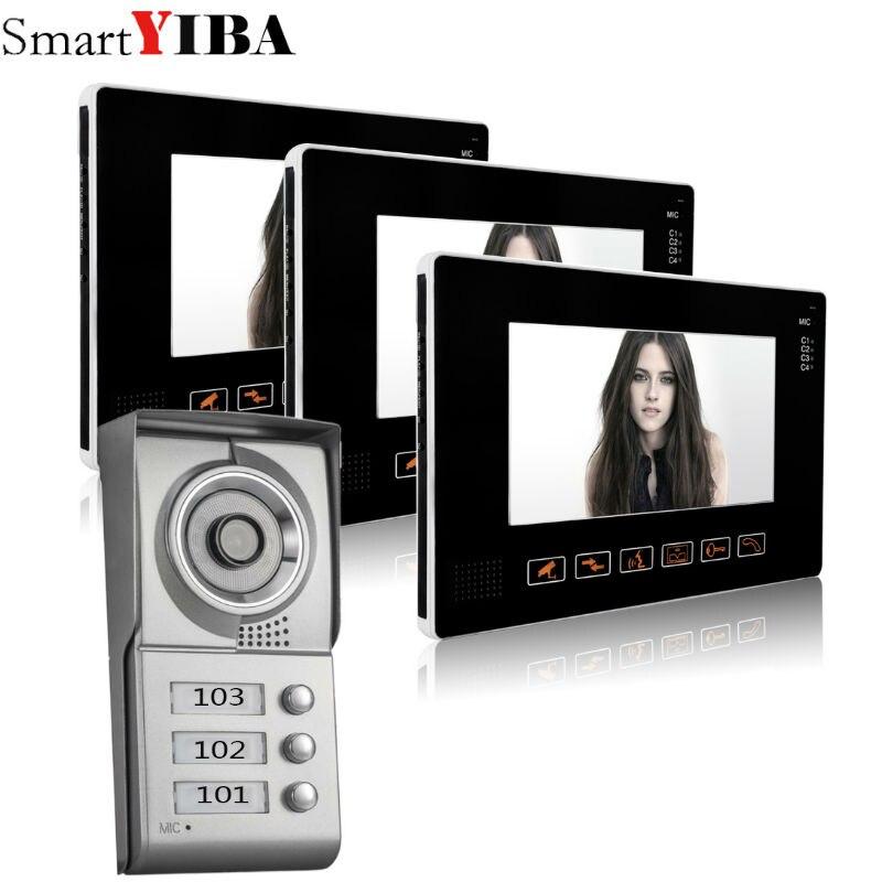"SmartYIBA 3 Units Apartment Intercom Wired 9""Video Door Phone Video Door Entry System Intercom Doorbell Camera Home Security Kit"